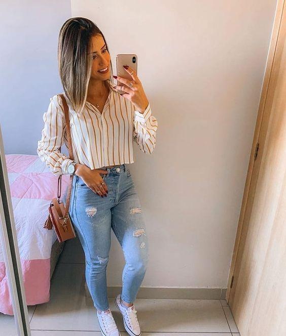 estilo casual com calça jeans ragadinho