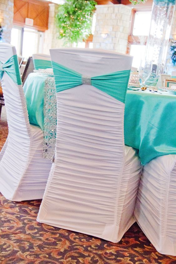 White Ruched Chair Cover, Tiffany Blue Spandex Sash, and Silver Bling Cuff