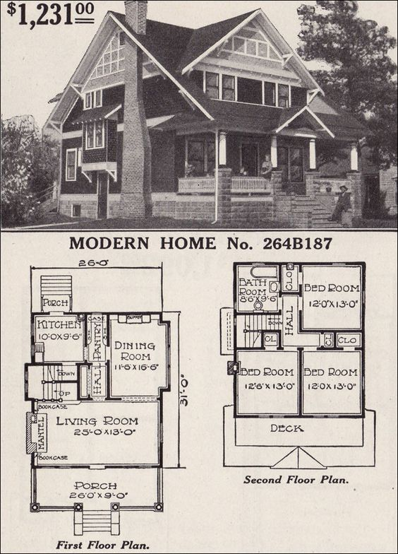 Two Storey Bungalow House Design: Craftsman-style Bungalow- 1916