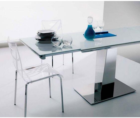 Außergewöhnlicher Glastisch ausziehbar für das besondere Dinner Ozzio Matrix/ extendable glas table Matrix