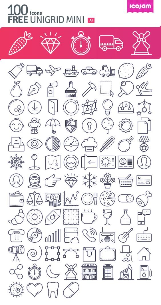 Today we have for you a free and diverse set of 100 outline vector icons to help you unleash your creativity...