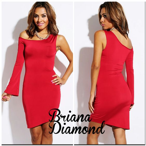 Bold red asymmetrical bell sleeve fitted clubbing mini dress.
