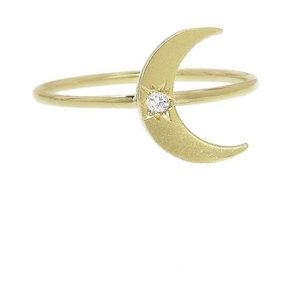 Mini Crescent Moon Ring - Yellow Gold ($715) ❤ liked on Polyvore featuring jewelry, rings, none, gold stackable rings, 18k jewelry, 18k ring, yellow gold stackable rings and gold jewellery