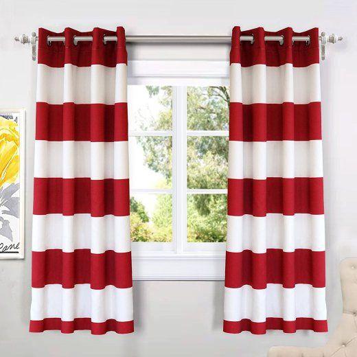 Red Striped Kitchen Curtain Set Red Kitchen Decor Red Kitchen
