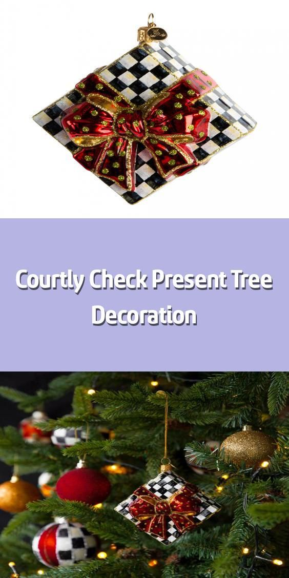 Courtly Check Present Tree Decoration Christmas Tree Decoration Material Glass Dimensions H10 1xw10 In 2020 Tree Decorations Christmas Bulbs Christmas Decorations