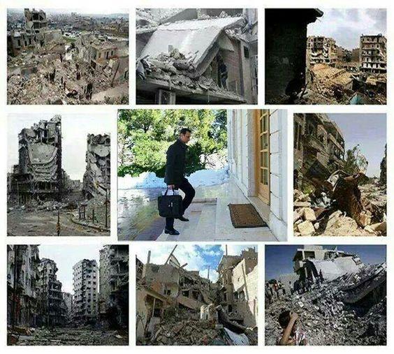 Assad's ongoing, internationally approved 'reforms' for Syria, achieved via warplanes, helicopter gunships, ballistic missiles, etc. #AssadWarCrimes #ObamaWarCrimes #Syria #SRLW