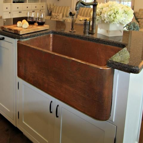 Farmhouse Copper Kitchen Sinks With Decorative Apron Copper