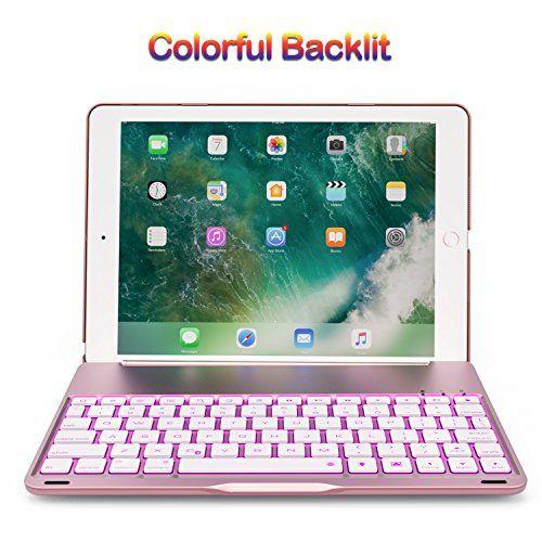 Keyboard Case For 2017 Ipad 9 7 5th Gen 2018 New Ipad 9 7 6th Gen Ipad Air Bluetooth Folio Hard Back Cover Aluminum Keyboard Base With Auto Sleep Wa
