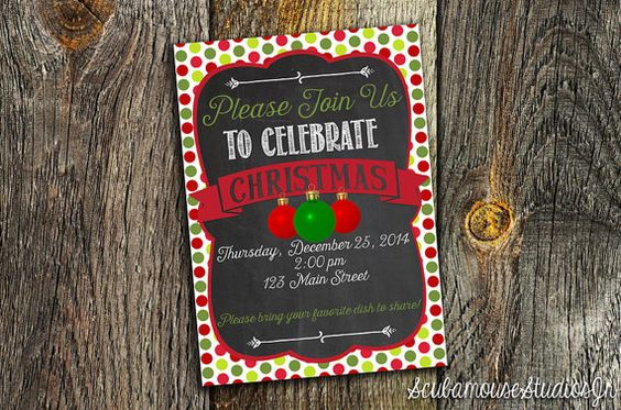 Christmas Invitation 5x7 Custom Printable by ScubamouseStudiosJr