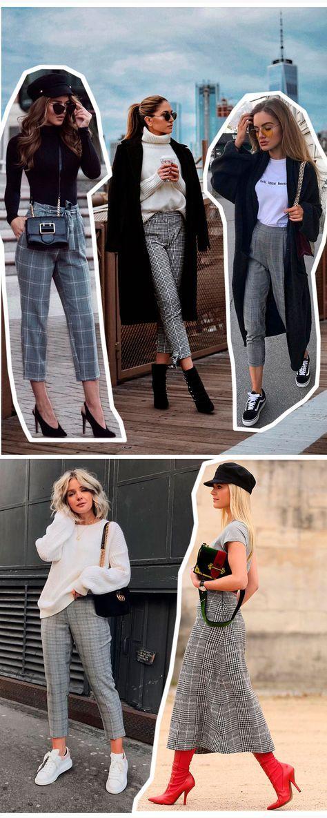 calças e saia estampa xadrez príncipe de gales - #tende #tendencia #celebridades #estilo #moda #looks #streetstyle #principedegales #xadrez #cool #outono #inverno #blazer