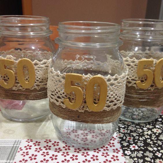 Botes para arreglos florales mesa 50 aniversario, bodas de oro