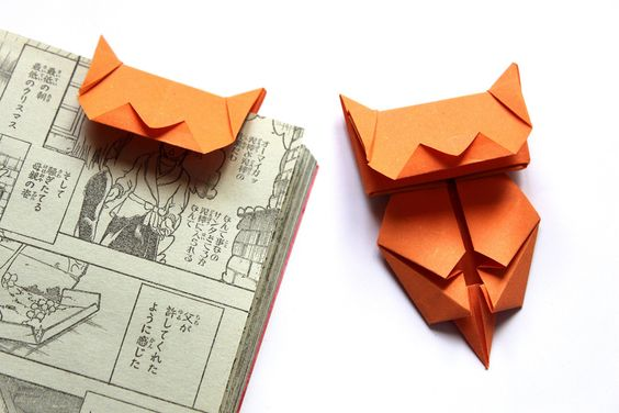 marque pages en papier origami en forme de chat orange marque page origami and orange. Black Bedroom Furniture Sets. Home Design Ideas