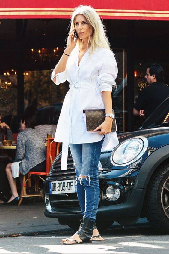 Le Fashion Blog Street Style Sarah Harris Elevated Casual Look Belted Tie Front White Shirtdress Distressed Skinny Denim Black Leather Ankle Wrap Sandals Via Vogue: