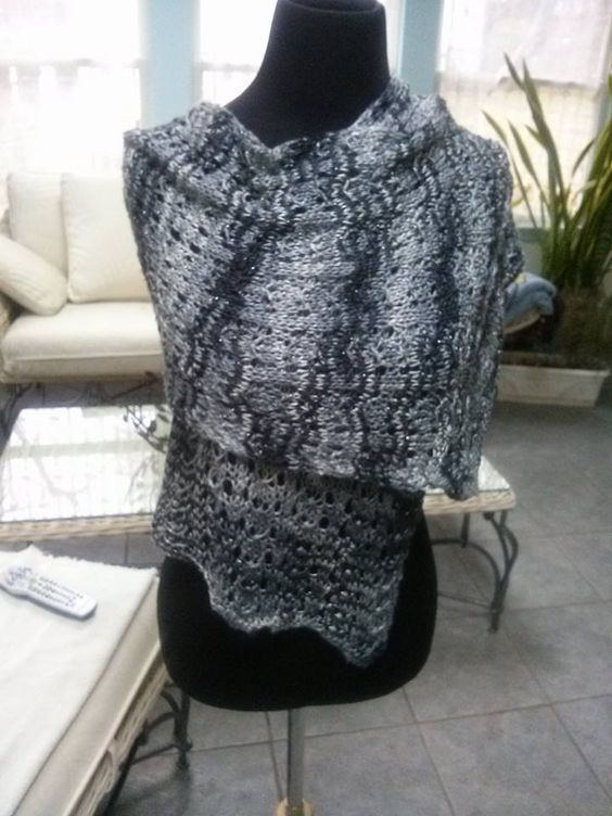 another way of wearing Nickies wrap knit in Artyarns Beaded Silk Lt, it slips on smooth