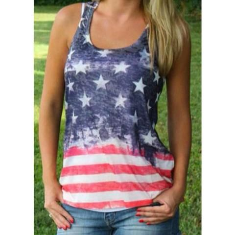 Summer Style Women Tank Top Vintage American Flag Stripe Stars Tank Top Fashion Vest Tops Women Printed Tank Tops