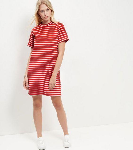 Red Stripe Roll Sleeve Tunic Dress  | New Look