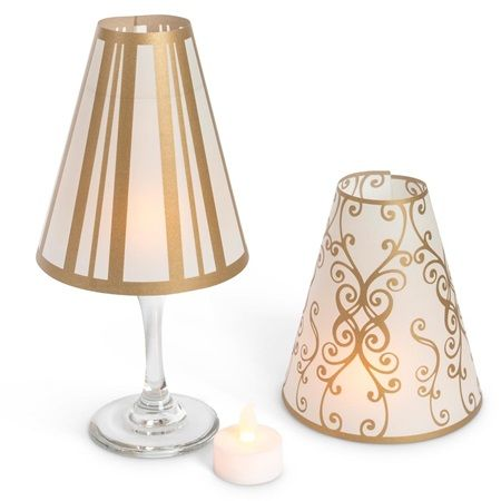 Gold Metallic Wine Glass Shade Set with Tea Lights #Christmas #coupons #deals #Offers