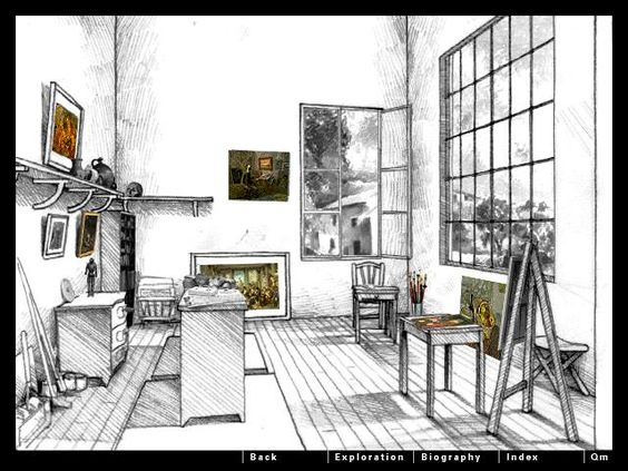 One point perspective room drawing pinterest - One point perspective living room sketch ...