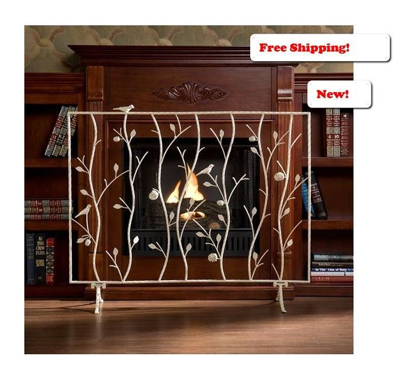 Antique White Fireplace Screen Door Flame Wood Log Fire Panel ...