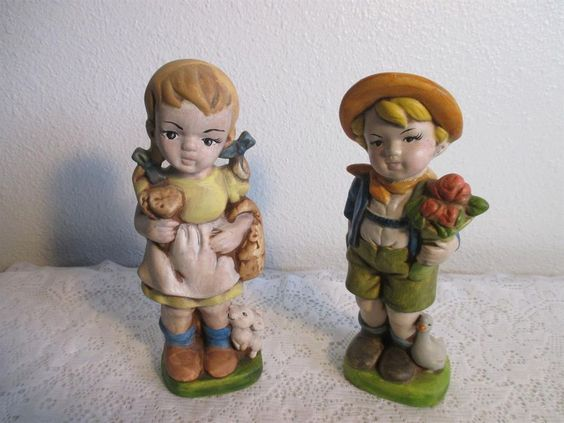 "Vinatge German Little Boy and Girl in Garden Figurines 8"" Tall Pair"