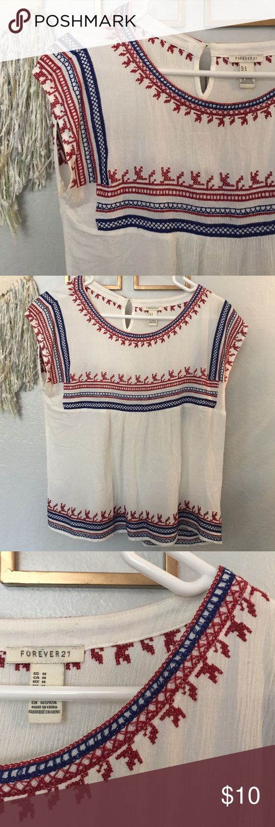 Boho top Cute little boho top! Runs tts. 100% rayon. No stains or rips. Cute little top! Forever 21 Tops Blouses