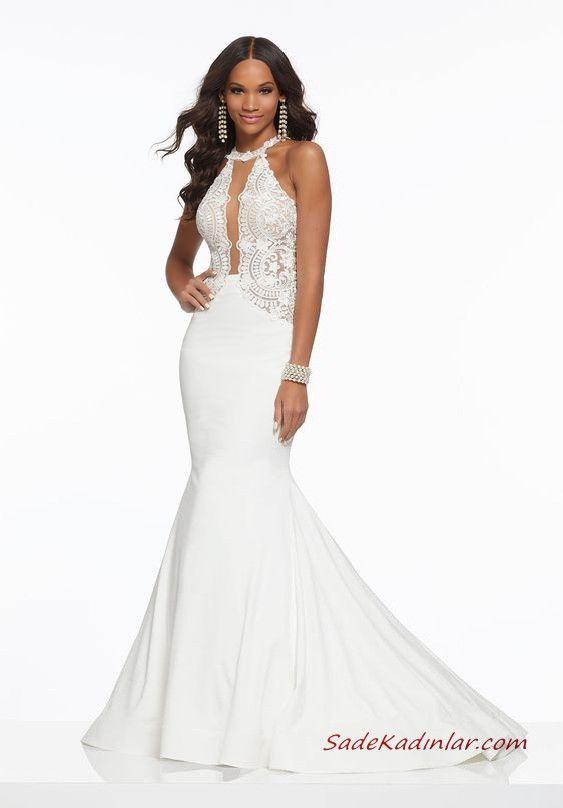 2021 Abiye Elbise Modelleri Beyaz Uzun Balik Boyundan Askili Kolsuz Dantel Islemeli The Dress Kisa Etekli Elbiseler Balo Elbiseleri