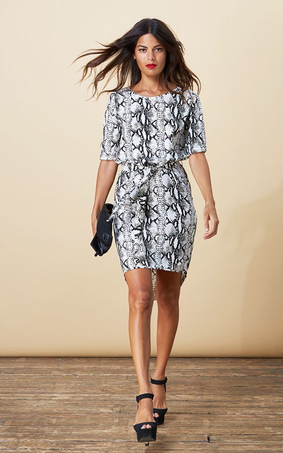 Gorgeous, easy to wear dress in python print. The drop back and pull in tie waist are really flattering. Shop now