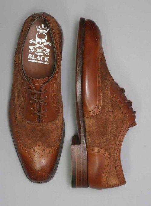 Barker Black Spectator Shoes.