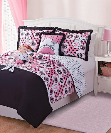 Love this Black & Pink Lana Doll & Reversible Comforter Set by Dollie & Me on #zulily! #zulilyfinds