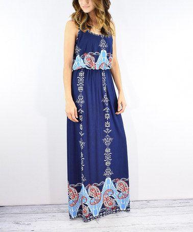 Look what I found on #zulily! Navy Paisley Maxi Dress #zulilyfinds