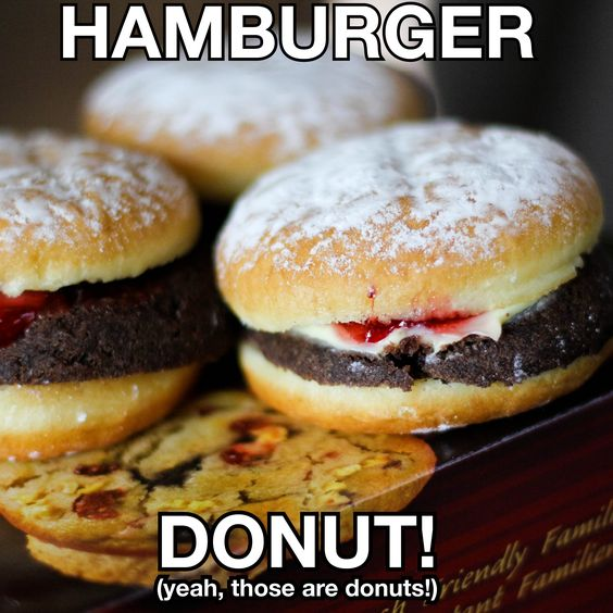 Tims has a Hamburger Donut! Regular and chocolate donuts with strawberry and boston creme filling! SO cool!