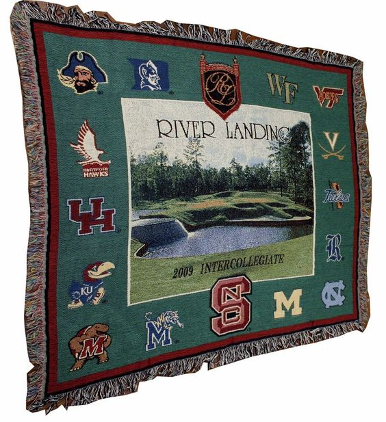 Golf Woven Tapestry Throw Blanket River Landing College Sports NC State ECU UNC #