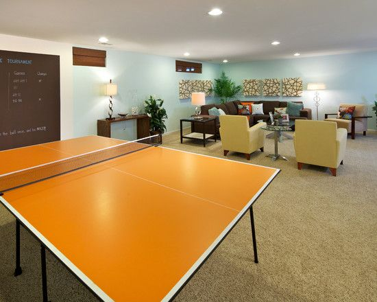 Contemporary basement design love the painted ping pong - How much space for a ping pong table ...