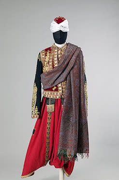 Court Blackamoor's Uniform   St Petersburg   Russia. Late 19th - early 20th century	  Cloth, satin, velvet, galloon and metal thread; embroidered. L.: jacket 54,camisole 45,breeches 117,belt 341 cm   Source of Entry:   State Museum of Ethnography of the Peoples of the USSR, Leningrad (before 1917 in the Winter Palace). 1941