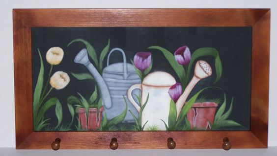 Floral and Watering Can PlaqueOFG by PublishedArtist on Etsy on etsy.