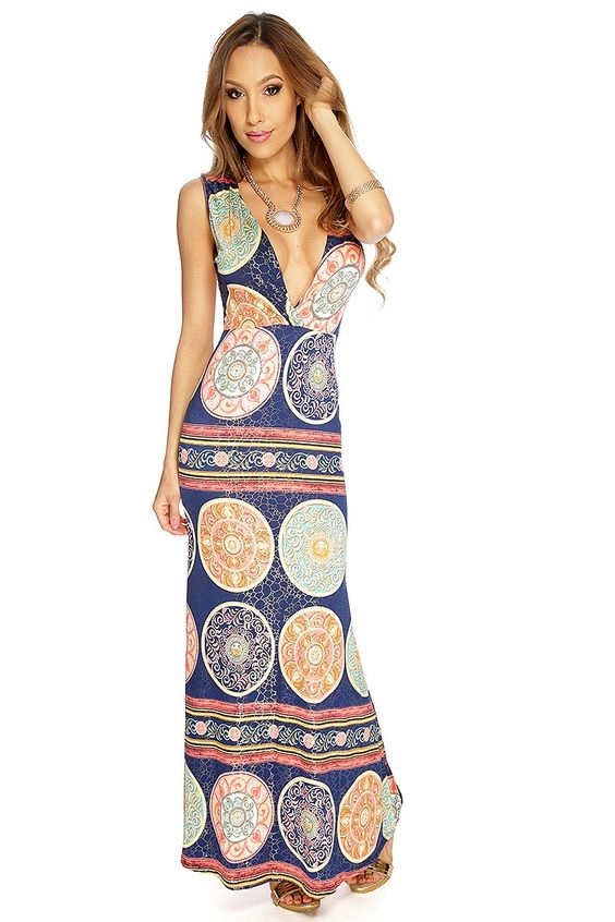 Navy Coral Printed V-Shape Plunge Neck Maxi Sexy Party Dress