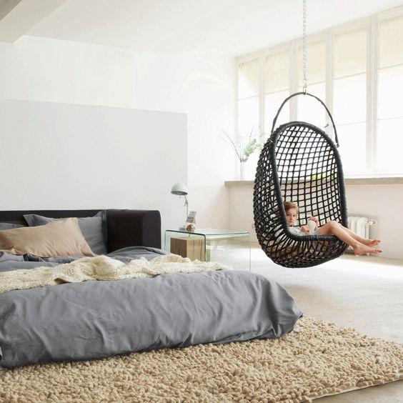 basket swing in bedroom