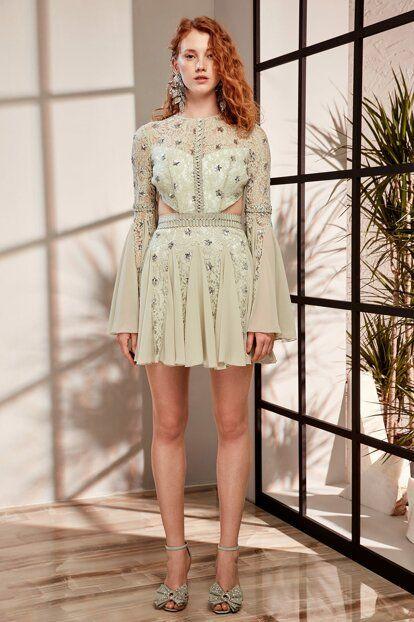 Mint Payet Detayli Abiye Elbise Tdpss19de0018 Raisa Vanessa Trendyol Mini Elbiseler Payet Elbise