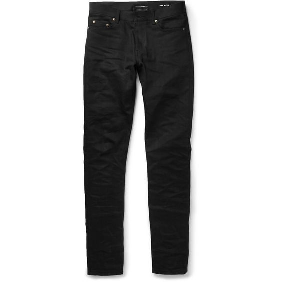 Saint Laurent Skinny-Fit 15cm Hem Denim Jeans (€420) ❤ liked on Polyvore featuring men's fashion, men's clothing, men's jeans, menswear, peter lynn and black