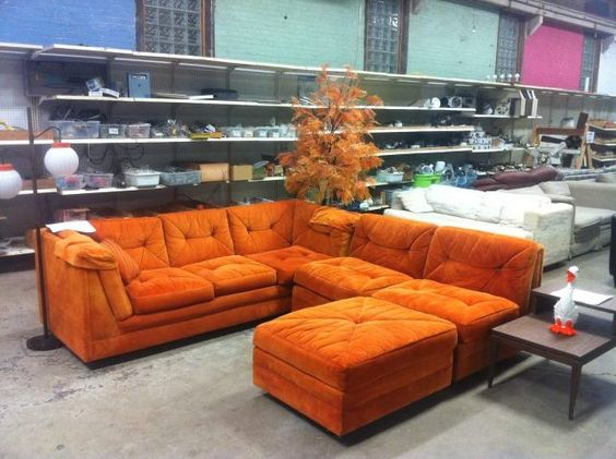 Retro Tangerine Orange Sectional Couch | Vintage Jazz | Pinterest | Sectional  Couches, Living Rooms And Room