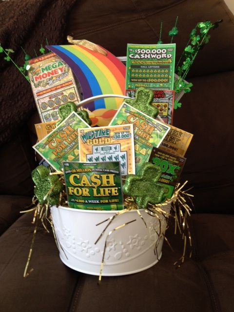 St Patricks Day Themed Basket With 100 Of Scratch Off