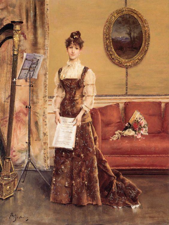 Art Renewal Center :: Alfred Stevens :: La Femme à la Harpe: