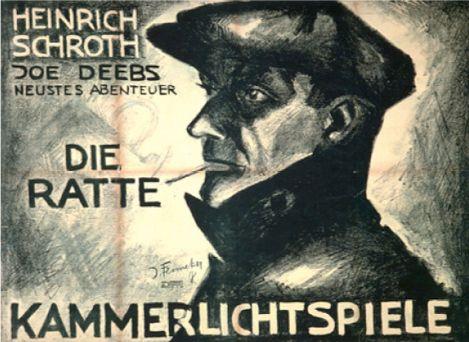 """Filmplakat von Josef Fenneker. Die Ratte ist ein Kriminalfilm von 1918 der Filmreihe """"Joe Deebs"""". Regie führte Harry Piel. Heinrich Schroth und Käthe Haack sind in den Hauptrollen besetzt."""