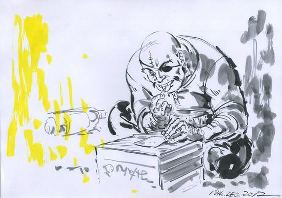 ミカン箱の上で筆を執っている水彩画タッチの丹下段平のあしたのジョーの壁紙