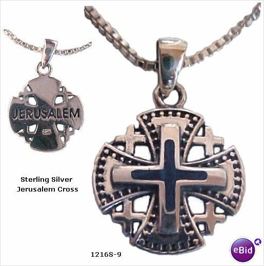 "This ornate, beautiful Jerusalem Cross Necklace is raised by a vibrant blue Lapis Stone in the center creating a 3D effect. The decorative edges gives this pendant a uniqueness of beauty and meaning and is engraved ""Jerusalem"" on the back. $36.95"