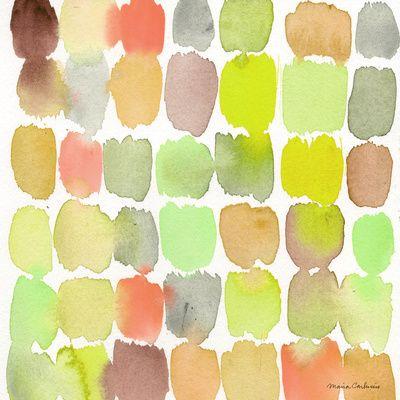 Green watercolors Art Print
