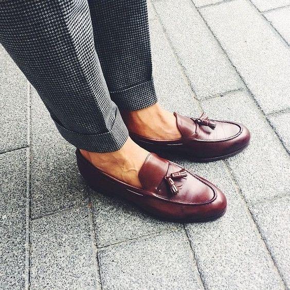 Handmade Men's burgundy leather loafer