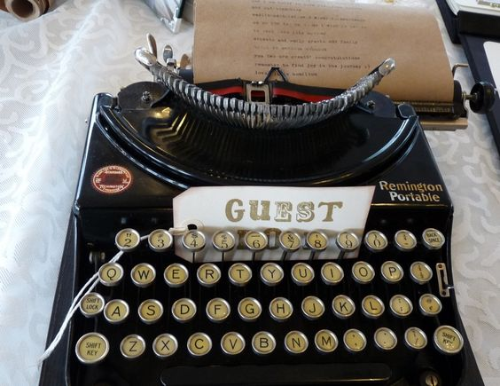 Use a variety of vintage typewriters for guests to type their message and name for your guest book. Hint...use a continuous roll of paper so that it keeps going....