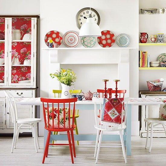 Esszimmer Wohnideen Möbel Dekoration Decoration Living Idea Interiors home dining room - Boho Esszimmer mit roten Akzenten