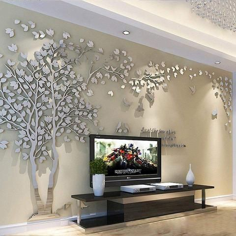 3d Wall Stickers Big Tree Acrylic Wall Decoration Lola Doo Mirror Wall Living Room Wall Stickers Silver Acrylic Wall Decor